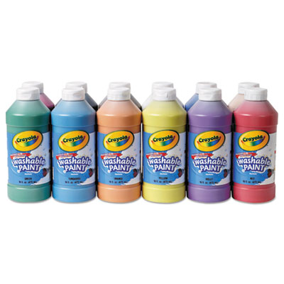Washable paint, assorted, 16 oz, 12 per set, sold as 1 set