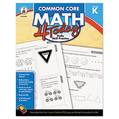 Common core 4 today workbook, math, kindergarten, 96 pages, sold as 1 each