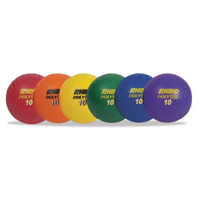 "Rhino playground ball set, 10"" diameter, rubber, assorted, 6 balls/set, sold as 1 set"