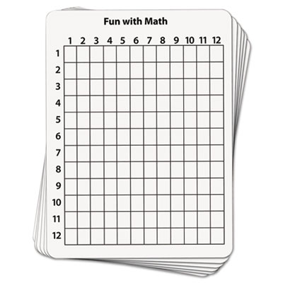 Math dry erase whiteboard, 9 x 12, grid, 10/pack, sold as 1 package