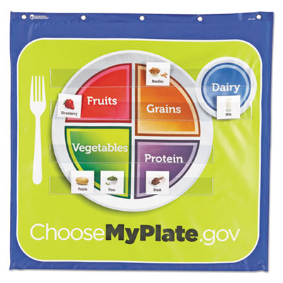 Healthy helpings my plate pocket chart with 90 food cards, 7 pockets, 28 x 28, sold as 1 each