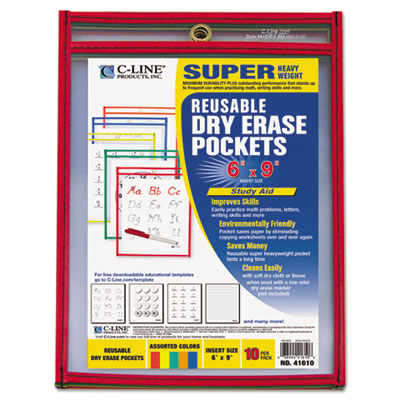Reusable dry erase pockets, 6 x 9, assorted primary colors, 10/pack, sold as 1 package