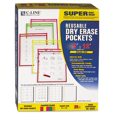 Reusable dry erase pockets, 9 x 12, assorted neon colors, 25/box, sold as 1 box, 25 each per box