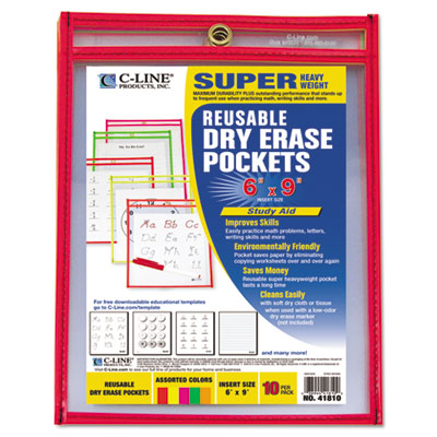 Reusable dry erase pockets, 6 x 9, assorted neon colors, 10/pack, sold as 1 package