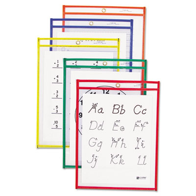 Reusable dry erase pockets, 9 x 12, assorted primary colors, 10/pack, sold as 1 package