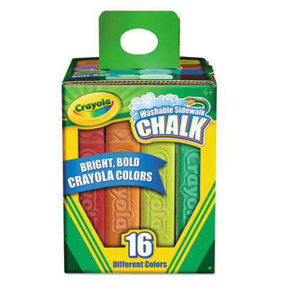 Washable sidewalk chalk, 16 assorted colors, 16 sticks/set, sold as 1 set