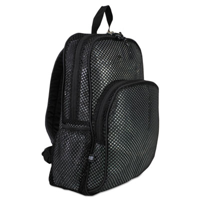 Mesh backpack, 12 x 5 1/2 x 17 1/2, black, sold as 1 each