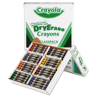 Washable dry erase crayons, classpack, assorted colors, 96/set, sold as 1 set