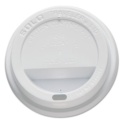 Traveler drink-thru lids, fits 10oz cups, white, 100/pack, 10 packs/carton, sold as 1 carton, 10 package per carton