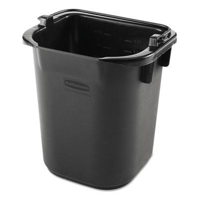 Executive heavy duty pail, black, plastic, 5 quarts, 9.3 w x 7.5 d x 8.5 h, sold as 1 each