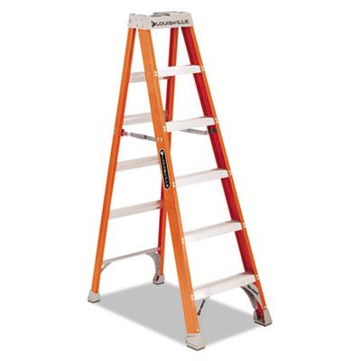 "Fiberglass heavy duty step ladder, 73 3/5"", 5-step, orange, sold as 1 each"