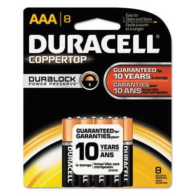 Coppertop alkaline batteries, duralock power preserve, aaa, 8/pk, 40 pk/carton, sold as 1 carton, 40 package per carton