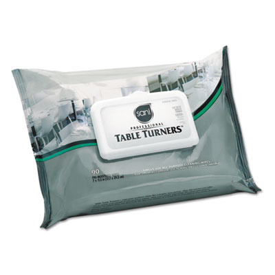 Table turner wet wipes, 7 x 11 1/2, white, 80 wipes/pack, 12 packs/carton, sold as 1 carton, 12 each per carton
