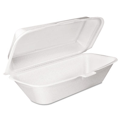 Foam hoagie container with removable lid, 9-4/5x5-3/10x3-3/10, white, 125/bag, sold as 1 carton, 500 each per carton