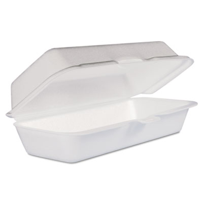 Foam hot dog container with hinged lid, 7-1/10 x 3-4/5 x 2-3/10, white, 125/bag, sold as 1 carton, 500 each per carton