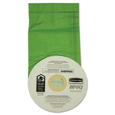 Vacuum bags, disposable, for rubbermaid commercial backpack vacuums, 10/pack, sold as 1 package