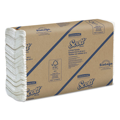 C-fold paper towels, 10 1/8 x 13 3/20, white, 200/pack, 12 packs/carton, sold as 1 carton, 12 package per carton