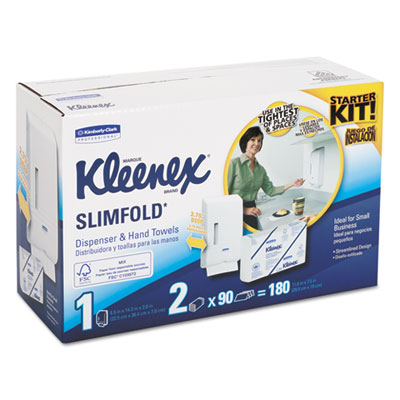 Slimfold dispenser kit, 14w x 13 3/23d x 8 1/2h, white, w/180 towels, sold as 1 kit