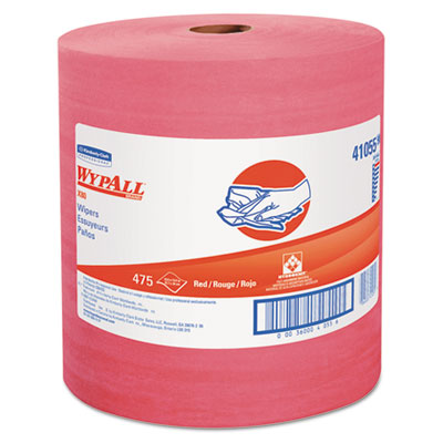 X80 wipers, hydroknit roll, 12 1/2 x 13 2/5, red, 475 wipers/roll, sold as 1 carton