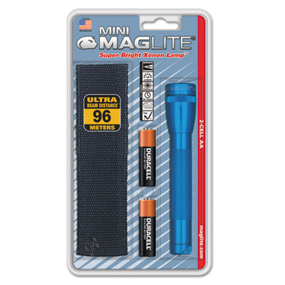 Mini maglite aa flashlight, blue, holster combo pack, sold as 1 each