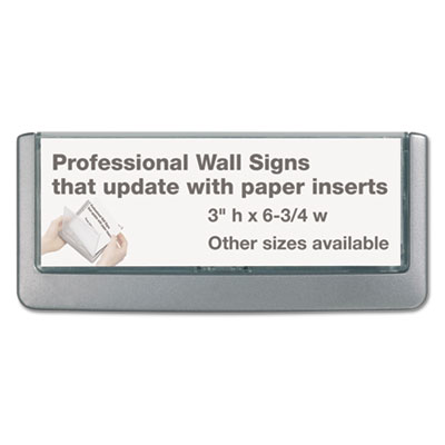 Click sign holder for interior walls, 6 3/4 x 5/8 x 3, gray, sold as 1 each