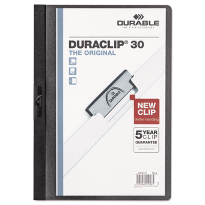 Vinyl duraclip report cover w/clip, letter, holds 30 pages, clear/black, sold as 1 each