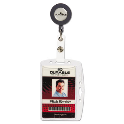 Shell-style id card holder, vertical/horizontal, with reel, clear, 10/pack, sold as 1 package
