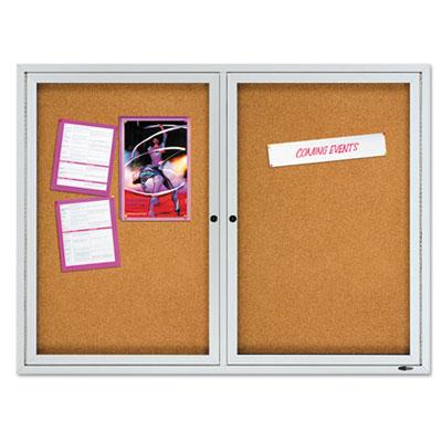 "Enclosed cork bulletin board, cork/fiberboard, 48"" x 36"", silver aluminum frame, sold as 1 each"