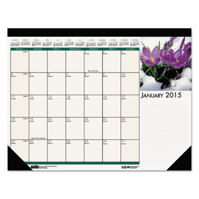 Floral photographic monthly desk pad calendar, 22 x 17, 2016, sold as 1 each
