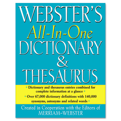 All-in-one dictionary/thesaurus, hardcover, 768 pages, sold as 1 each