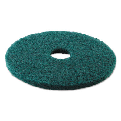 Standard 17-inch diameter heavy-duty scrubbing floor pads, green, sold as 1 carton, 5 each per carton