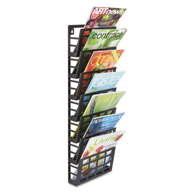 Grid magazine rack, seven compartments, 9-1/2w x 5-1/2d x 29-1/2h, black, sold as 1 each