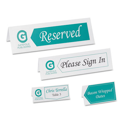 Small textured tent cards, white, 1 7/16 x 3 3/4, 6 cards/sheet, 150/box, sold as 1 package