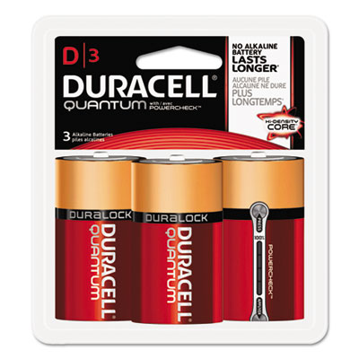 Quantum alkaline batteries w/ duralock power preserve technology, d, 1.5v, 3/pk, sold as 1 carton, 24 each per carton