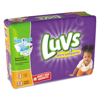 Diapers, size 3: 16 to 28 lbs, 34/pack, 4 pack/carton, sold as 1 carton, 4 each per carton