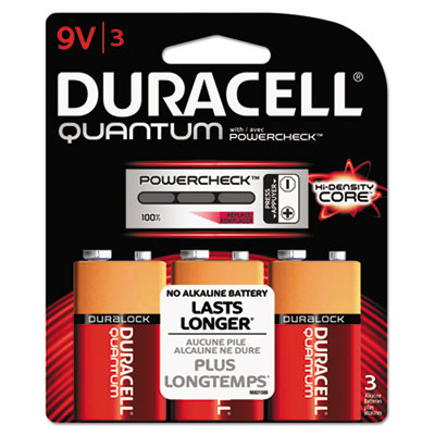 Quantum alkaline batteries w/ duralock power preserve tech, 9v, 3/pk, 36 pk/ct, sold as 1 carton, 36 package per carton