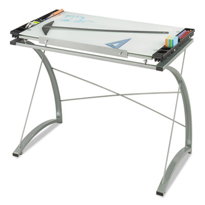 Xpressions glass top drafting table, 41w x 24d x 31 1/2 to 40h, silver, sold as 1 each