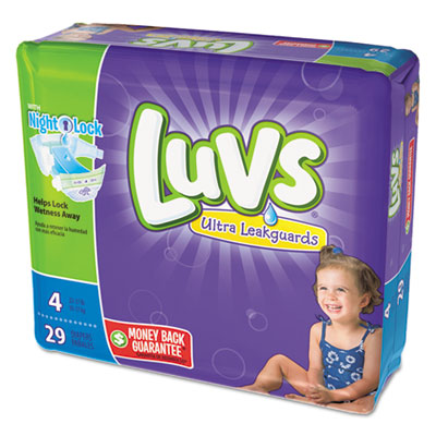Diapers, size 4: 22 to 37 lbs, 29/pack, 4 pack/carton, sold as 1 carton, 4 each per carton