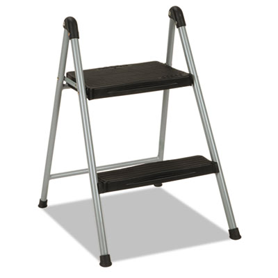 "Folding step stool, 2-step, 200lb, 16 9/10"" working height, platinum/black, sold as 1 each"