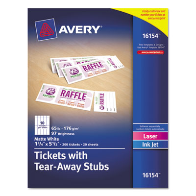 Printable tickets w/tear-away stubs, 8 1/2 x 11, white, 10/sheet, 20sheets/pack, sold as 1 package