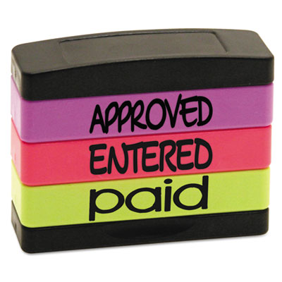 Stack stamp, approved, entered, paid, 1 13/16 x 5/8, assorted fluorescent ink, sold as 1 each