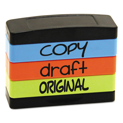 Stack stamp, copy, draft, original, 1 13/16 x 5/8, assorted fluorescent ink, sold as 1 each