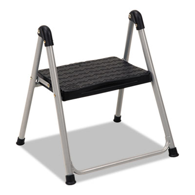 "Folding step stool, 1-step, 200lb, 9 9/10"" working height, platinum/black, sold as 1 each"
