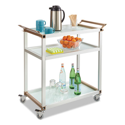 Large refreshment cart, three-shelf, 32w x 16 3/4d x 35h, silver, sold as 1 each