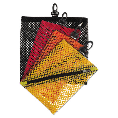 Vaultz mesh storage bags, black; orange; red; yellow, sold as 1 package