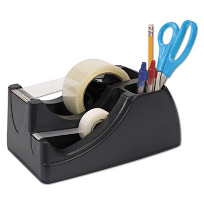 "Recycled 2-in-1 heavy duty tape dispenser, 1"" and 3"" cores, black, sold as 1 each"