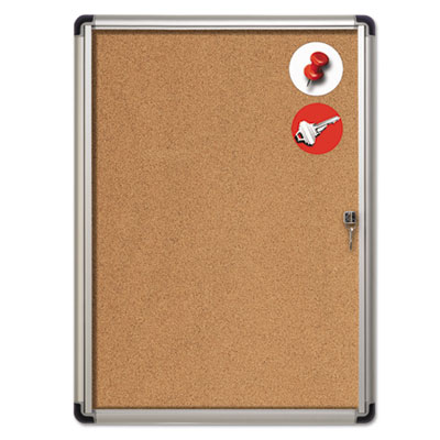 Slim-line enclosed cork bulletin board, 28 x 38, aluminum case, sold as 1 each