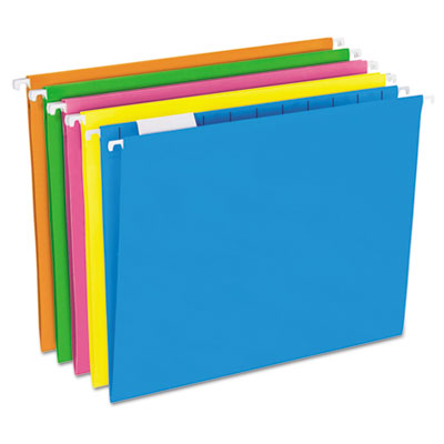 Glow hanging file folders, 1/5 tab, letter, glow assorted, 25/box, sold as 1 box, 25 each per box