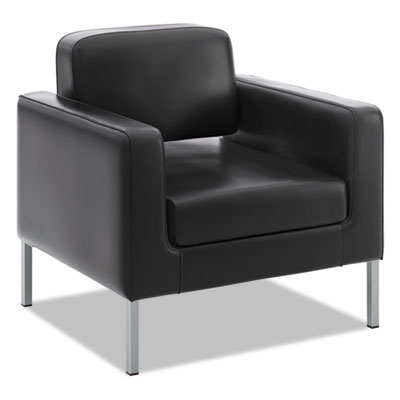 Vl887 lounge seating series club chair, black leather, sold as 1 each