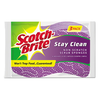 Stay clean non-scratch scrub sponges, 3 3/16 x 7/8 x 4 3/4, purple, 3/pack, sold as 1 package